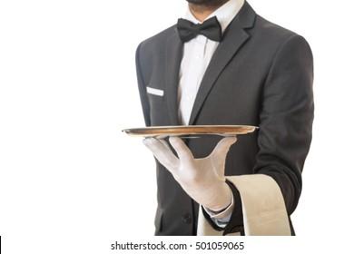 Waiter holding an empty tray