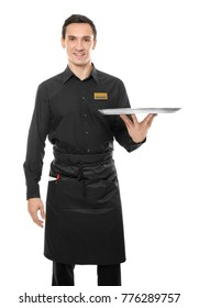 Waiter holding empty tray on white background