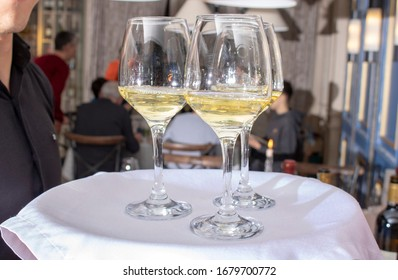 waiter holding Glasses with wine on tray - party background