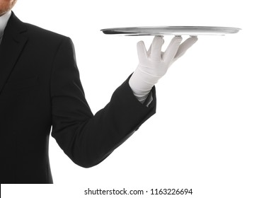 Waiter holding metal tray on white background, closeup