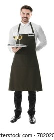Waiter holding tray with glasses of wine on white background