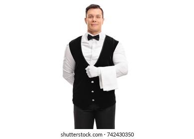 Waiter holding a white towel isolated on white background