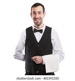 Waiter isolated over white background smiling, full body apron.