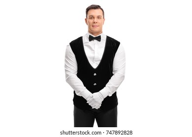 Waiter looking at the camera isolated on white background