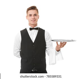Waiter with metal tray on white background