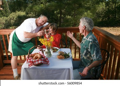 a waiter openly flirts with the wife of one of his customers at an outdoor cafe or bed and breakfast