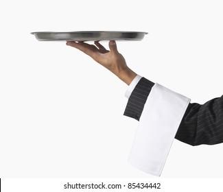 Kellner oder Server einzeln auf Weiß