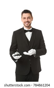 Waiter with service bell on white background