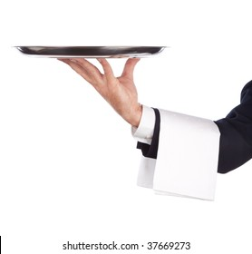 waiter with a silver plate .Isolated on a white background