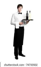 Waiter sommelier with bottle of red white wine and stemware glass on tray