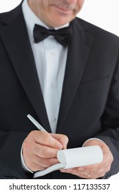 Waiter taking orders on white background