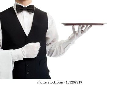 Waiter torso with empty tray isolated on white background