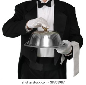 Waiter with tray about to lift the silver catering dome, isolated on white with a clipping path