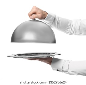 Waiter with tray and cloche on white background