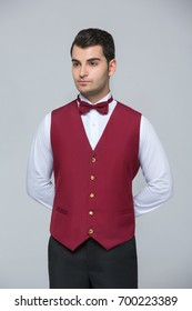 Waiter uniforms. Portrait of  waiter uniform on white background for clothes design. White background. Catering service.