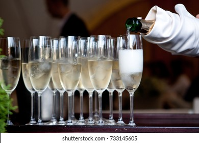 The waiter in a white glove pours the champagne into the glasses from the bottle in the restaurant. Catering service, banquet. green on the left side of the photo. official event.