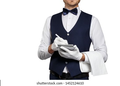 Waiter writing down the order in a notebook, isolated on white background