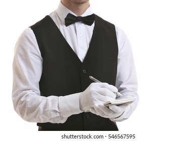 Waiter writing down an order on white background, close up