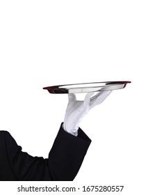 Waiters hand serving empty plate, metaphore