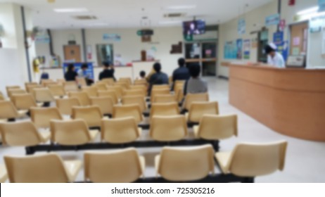 Waiting area on Sunday morning at Obstetrics and Gynecology department in the public hospital or government hospital, Thailand. Patients waiting to see doctor concept. Blurred background.