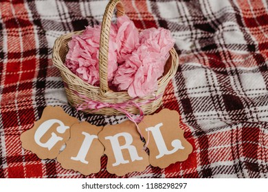 Waiting for baby concept. Word 'Girl' near the basket with pink ornaments on the coverlet.