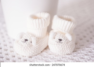 Waiting for baby white slippers