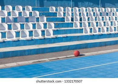 waiting for basketball players, Basketball ball on empty basketball court