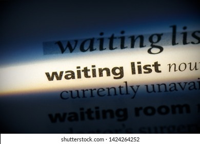 waiting list word in a dictionary. waiting list concept, definition.