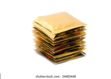 Waiting for long sex: 12 condoms in a stack isolated on white