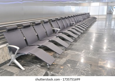 Waiting room at the airport departure terminal.
