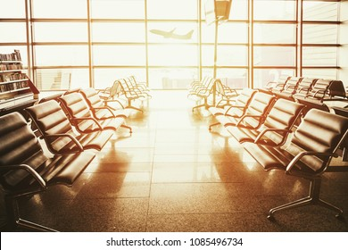 The waiting room at the airport at sunset
