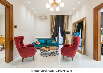 Waiting room in dental clinic interior
