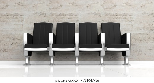 Waiting room. Empty luxury chairs on white floor. 3d illustration