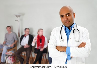 Waiting room with patients and a doctor