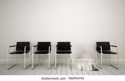 Waiting room with row of chairs, one of the chairs is sunk in the ground