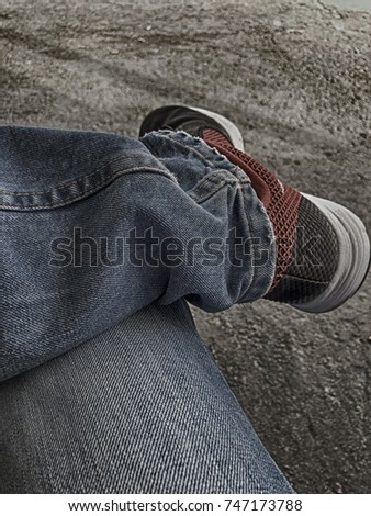 9a359f1bfba6 Waiting Sitting Jeans Sneakers Stock Photo (Edit Now) 747173788 ...