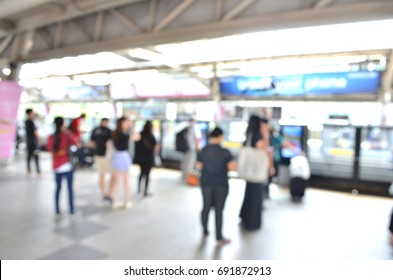 Waiting for the train , Abstract blur and defocused subway and train station interior for background