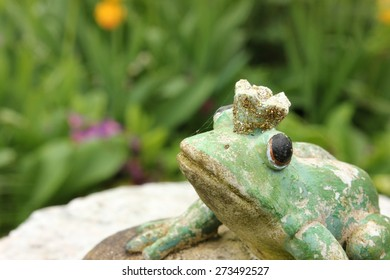 Waiting weathered stone frog statue waiting on a stone to be kissed in the garden, seen from birds eyes view looking up. Character from a Russian fairytale. Black eyes. Blurry background.