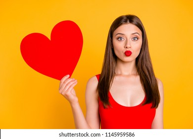 I'm waiting for your kiss! People wedding first strange crazy love concept. Close up photo portrait of man excited beautiful cheerful joyful lady wants to kiss you isolated vivid background
