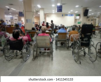 Waiting zone for wheelchair users....Patients who are unable to walk and many elderly patients sit in the hospital wheelchair to see a doctor and use the hospital services ... lens blurred.