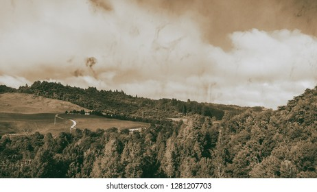 Waitomo countryside, panoramic view of New Zealand hills in spring.