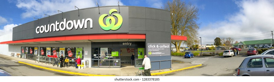 WAITOMO, NEW ZEALAND - AUGUST 31, 2018: Exterior view of Countdown Supermarket. It is a New Zealand full-service supermarket chain and subsidiary of Woolworths NZ.