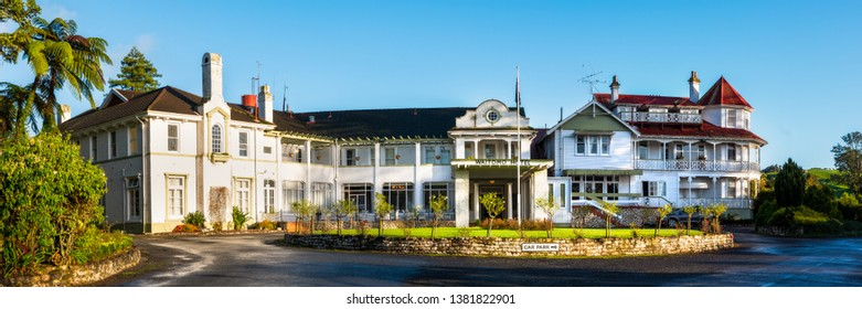 Waitomo, New Zealand - May 19, 2018: Panorama of the historic Waitomo Caves Hotel near Waitomo Glowworm Caves. Built in 1908, it is reportedly haunted by Maori spirits and former guests and staff.