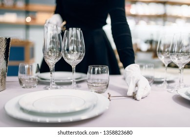 Waitress in gloves puts the dishes, table setting