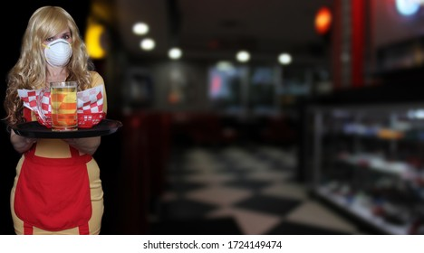 Waitress With N95 Mask and Tray of Food in Restaurant, Shallow DOF Focus on Tray