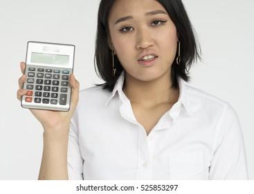 Waitress Woman Working Hospitality Calculator Concept