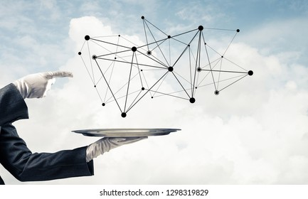 Waitress's hand in white glove presenting black social media network structure on metal tray and pointing on it with cloudy skyscape on background. 3D rendering.