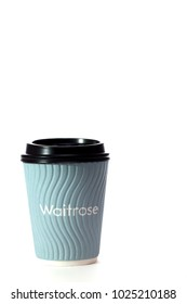 Waitrose free coffee. Disposable hot drink cup with single use plastic. Environmentally unfriendly perk. Non-recyclable cup. Customer incentive possibly coming to an end. illustrative editorial.