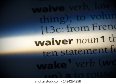 waiver word in a dictionary. waiver concept, definition.
