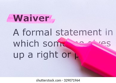waiver word highlighted on the white background